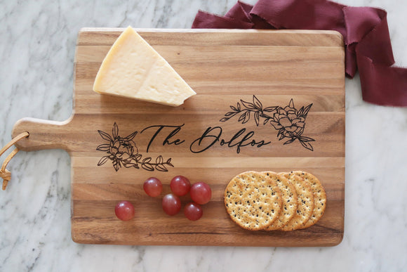 personalized floral family wood cutting board | custom cutting board | personalized wedding gift | housewarming | charcuterie | engraved