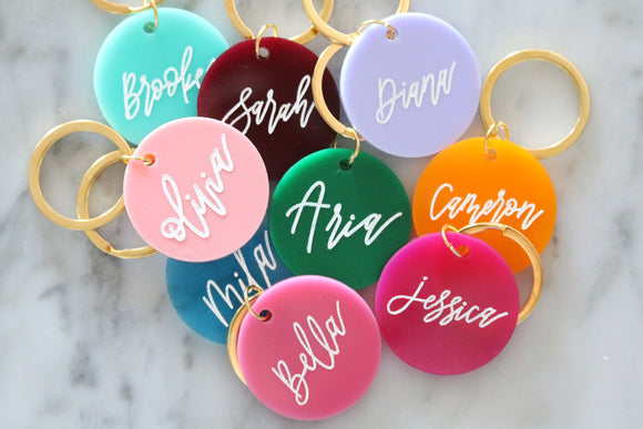 colorful round keychain | custom calligraphy name keychain | CHOOSE YOUR COLOR | personalized | gift | backpack | key chain