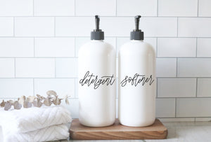 DETERGENT + SOFTENER | 32oz calligraphy script soap dispenser set | farmhouse laundry | laundry room | labeled and organized | custom
