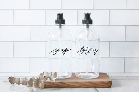 SOAP + LOTION | calligraphy clear soap dispenser set 16oz