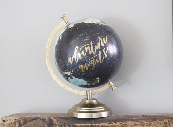 hand lettered calligraphy globe | adventure awaits