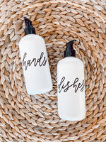 HANDS + DISHES | calligraphy white soap dispenser set 16oz