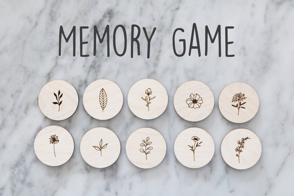 wood memory set matching game