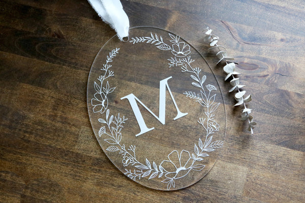 custom hanging floral initial acrylic sign