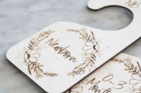 baby wood nursery closet dividers | floral wreath