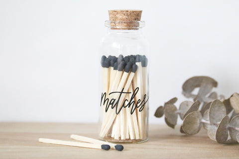 small black matches jar