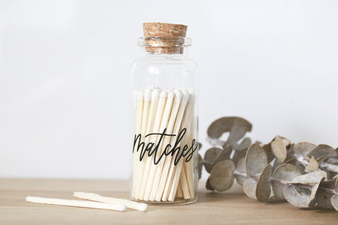 custom calligraphy small black matches jar