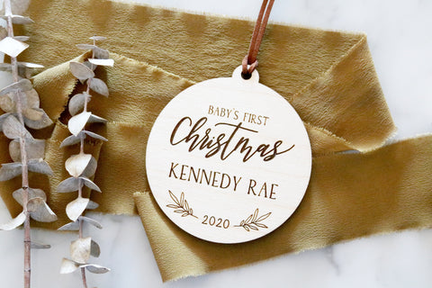 custom baby's first christmas wood ornament