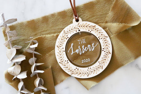 custom christmas wreath wood + acrylic ornament
