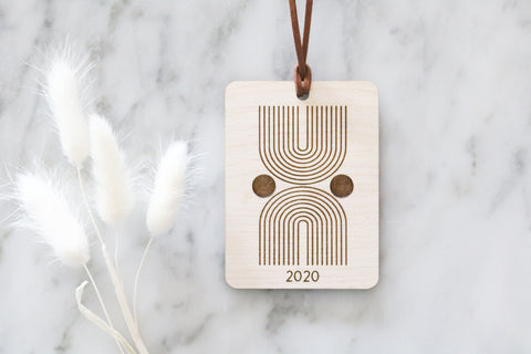 mid century modern wood christmas ornament | 03