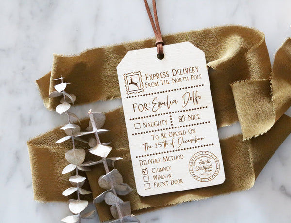 personalized christmas santa gift tag