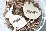 custom calligraphy wood easter basket name tag | bunny or chick