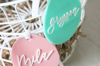 custom calligraphy egg easter basket acrylic name tag | choose your color