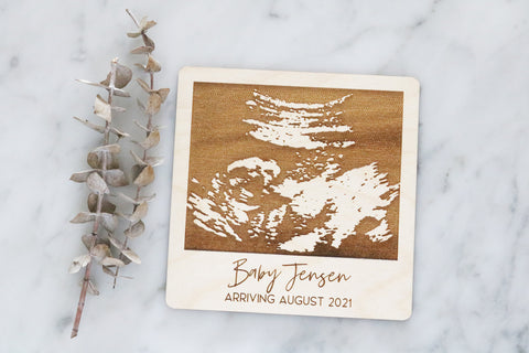 custom engraved baby ultrasound polaroid sign | acrylic or wood