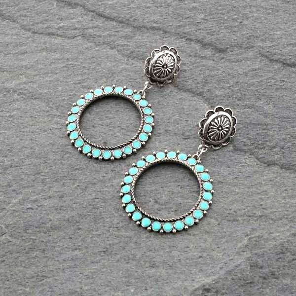 ER0496 - Concho Stud with Circle Post Earrings