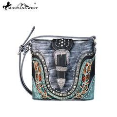 MW6568360 Montana West Buckle Collection Crossbody Bag - Rawhide Western Wear