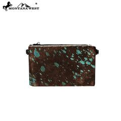 RLH008 Montana West Hair-On Cowhide Leather Clutch/Crossbody - Rawhide Western Wear