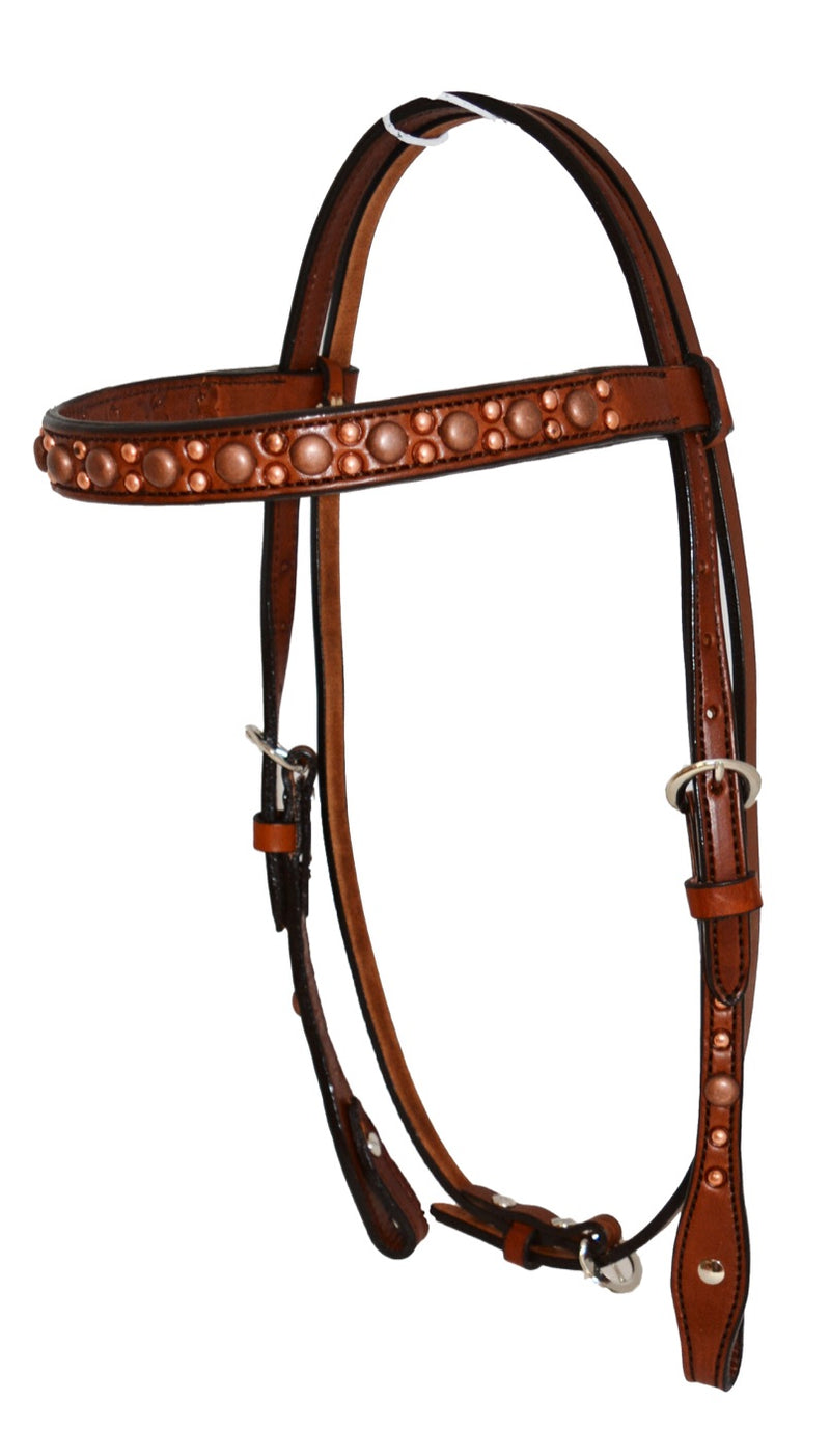 2014TC  - USA Hand Made Alamo COPPER SPOTS Bridle & Breastplate SET - Rawhide Western Wear