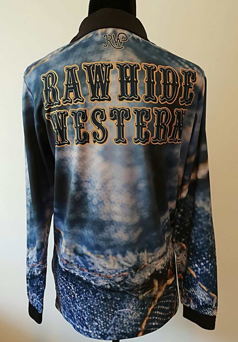 P4017 - Rawhide Denim Jean Fishing Shirt - Rawhide Western Wear