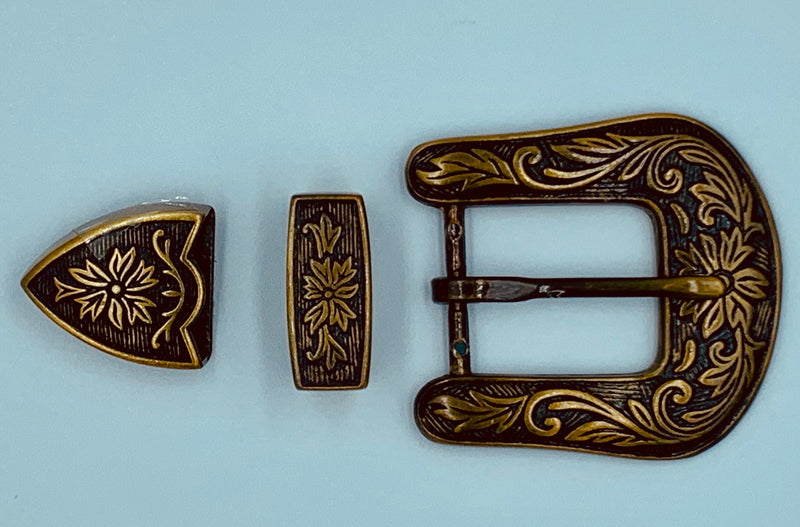 A7239 - Antique Brass Floral Buckle & tips - Rawhide Western Wear