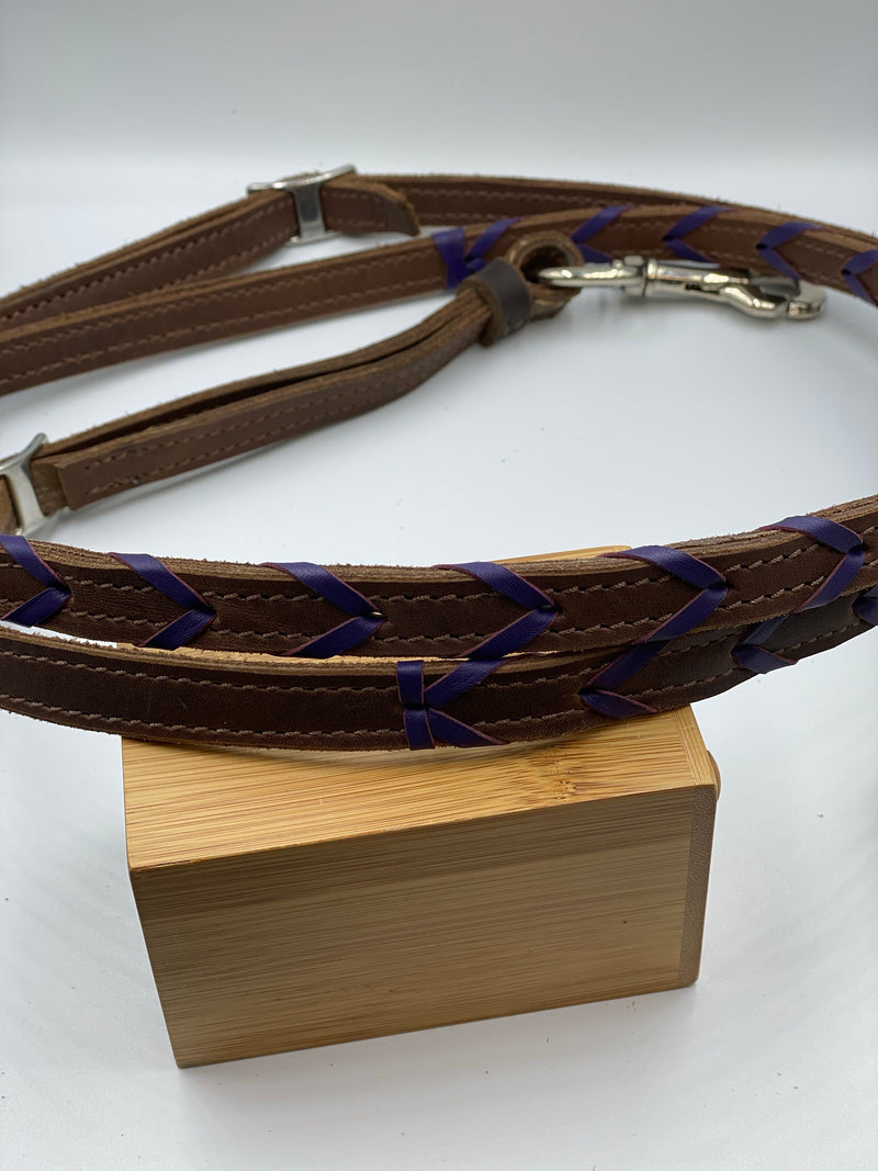 T5020  - Dark Purple Aust Made Laced Barrel Reins