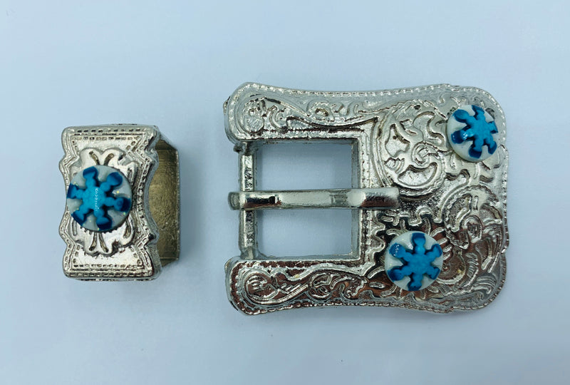 A7254 - Floral with turquoise Buckle - Rawhide Western Wear
