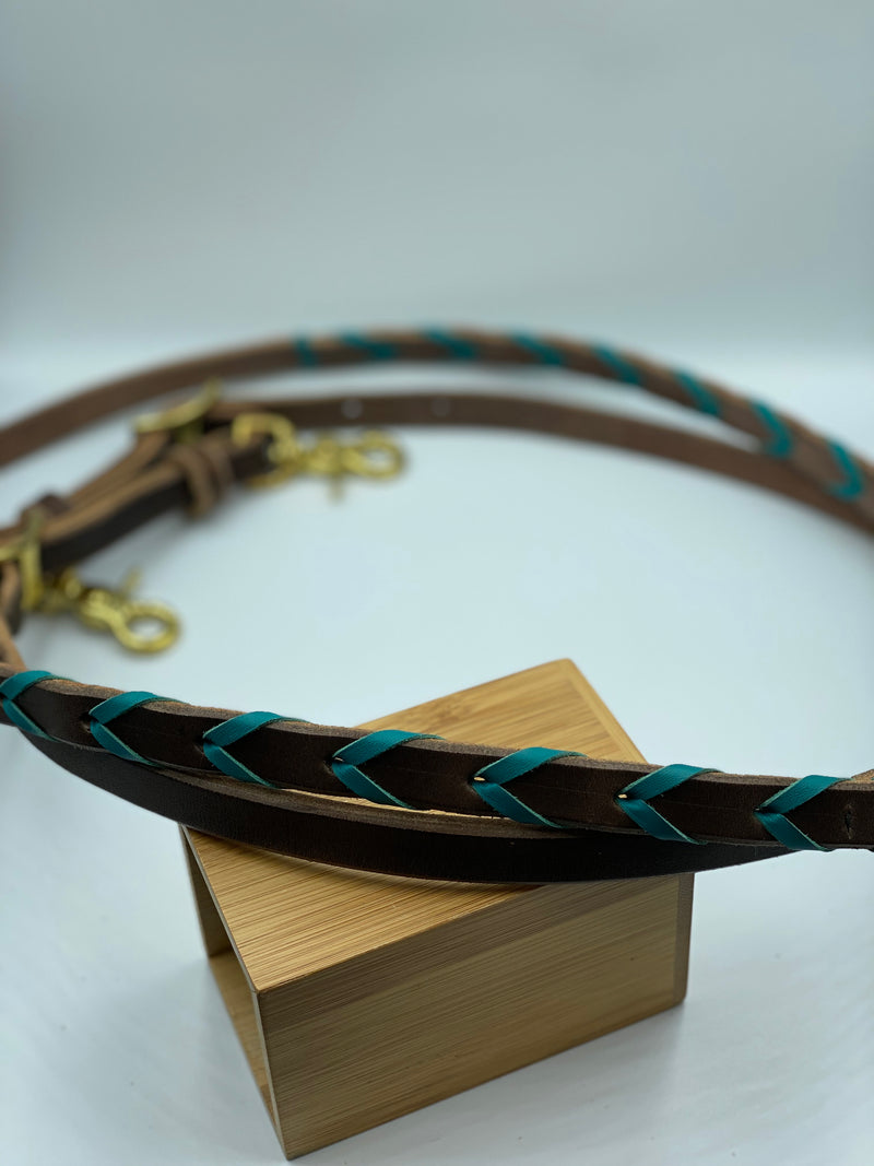 T5020  - Turquoise Aust Made Laced Barrel Reins