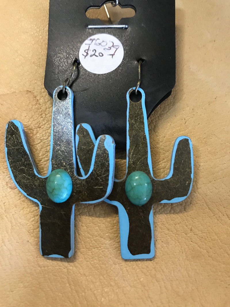 J6039  - Turquoise Cactus Earrings - Rawhide Western Wear