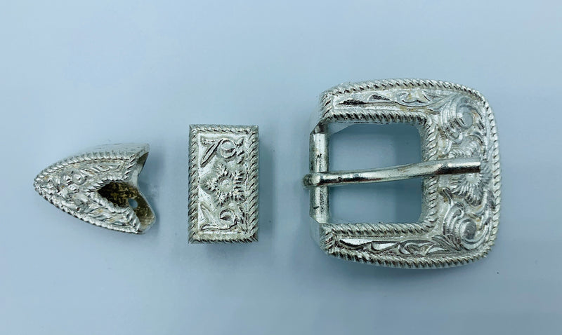 A7244 - Sliver Floral Buckle, Keeper & Tip - Rawhide Western Wear
