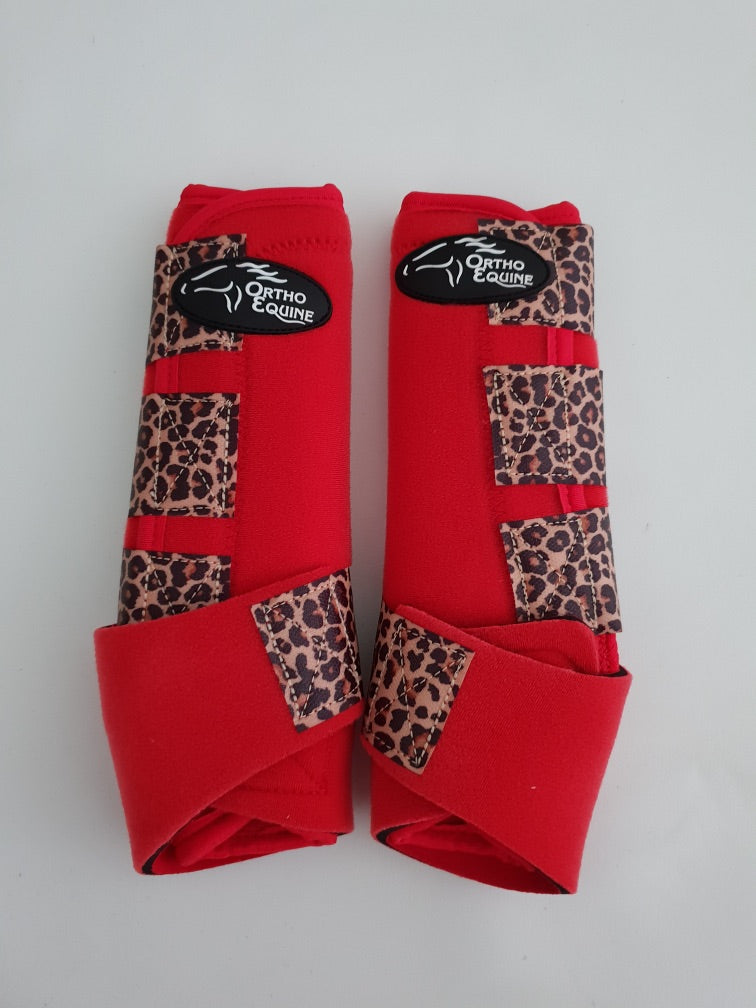 RED / Cheetah Bind - Ortho Equine Boots with Attached Sass Straps SET OF 4 - Rawhide Western Wear