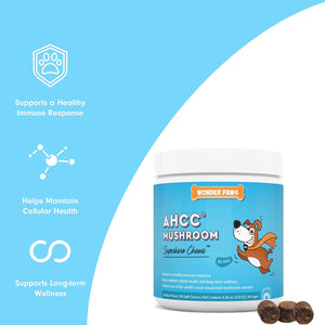 Wonder paws AHCC mushroom complex for pets supports immune system cellular health and long term wellness delicious chicken flavor