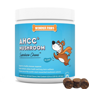Wonder Paws AHCC mushroom supplement for dogs immune support and long-term wellness