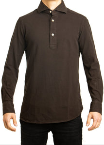 L/S Polo- Brown
