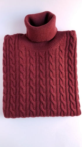 Burnt Orange Cable Turtleneck