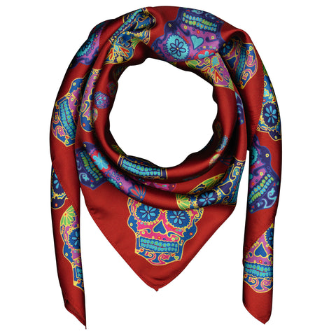 Red Silk Scarf Sugar Skull
