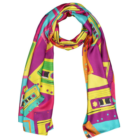 Silk Scarf Long Retro Cassette Tape Design,80's,Evening Wear,Wedding,Birthday Gift,Wildcard Silks,Wrap or Shawl, Clothing, 178 x 51 cms