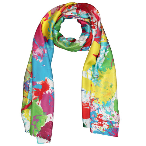 Silk Scarf Long Paint Splash, Colorful Scarf, Designer Scarf, Gift for women, Gifts for Her, Rainbow Scarf, Multi-coloured, Wildcard Silks