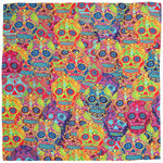 Silk Scarf Square Sugar Skull Design, Small,Rockabilly,Wedding,Birthday Gift,Wildcard Silks,Headscarf,Artwork,Neckerchief,Clothing,53x53cms