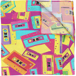 Silk Pocket Square Retro Cassette Tape Design,Wildcard Silks,Mens Handkerchief, Wedding,Evening Wear, Birthday Gift, Accessory, 53x53 cms