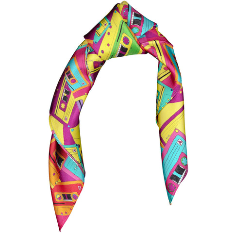 Silk Scarf Square Retro Tapes Design,Small,80's,Rockabilly,Birthday Gift,Wildcard Silks,Headscarf,Artwork,Neckerchief, Clothing,53x53cms