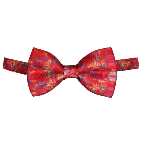 Silk Bow Tie Space Design Red, Pre-Tied, Evening Wear, Birthday Gift, Special Occasion, Wedding, Wildcard Silks, Bow Tie For Men, Accessory