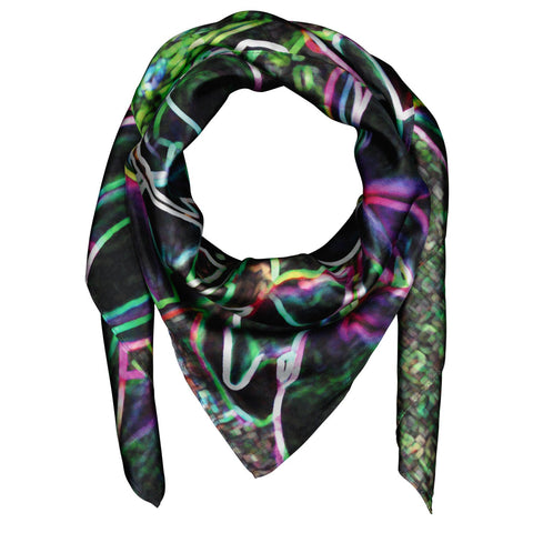 Silk Scarf Square Magnolia Design on Black,Wedding, Evening Wear, Birthday Gift, Wildcard Silks, Artwork, Wrap or Shawl, Clothing,91x91cms
