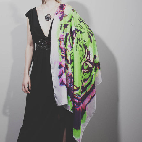 Silk Scarf Square Tiger Design, Wedding, Evening wear, Birthday gift, Wildcard Silks, Artwork, Wrap or Shawl, Clothing, 91x91cms