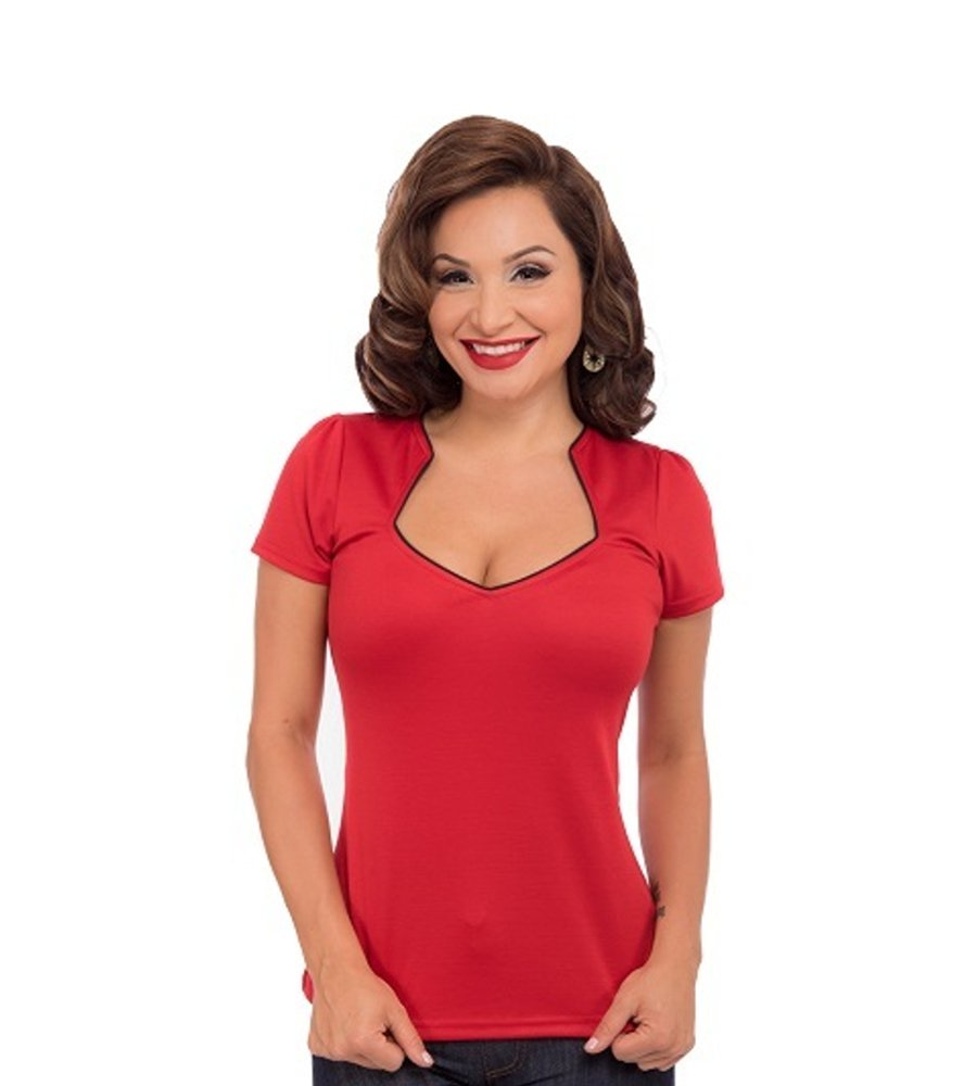 Piped Sophia Top in Red