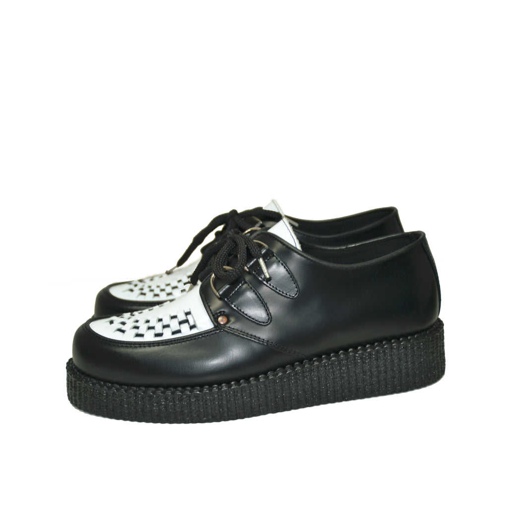 Creepers Black and White box leather