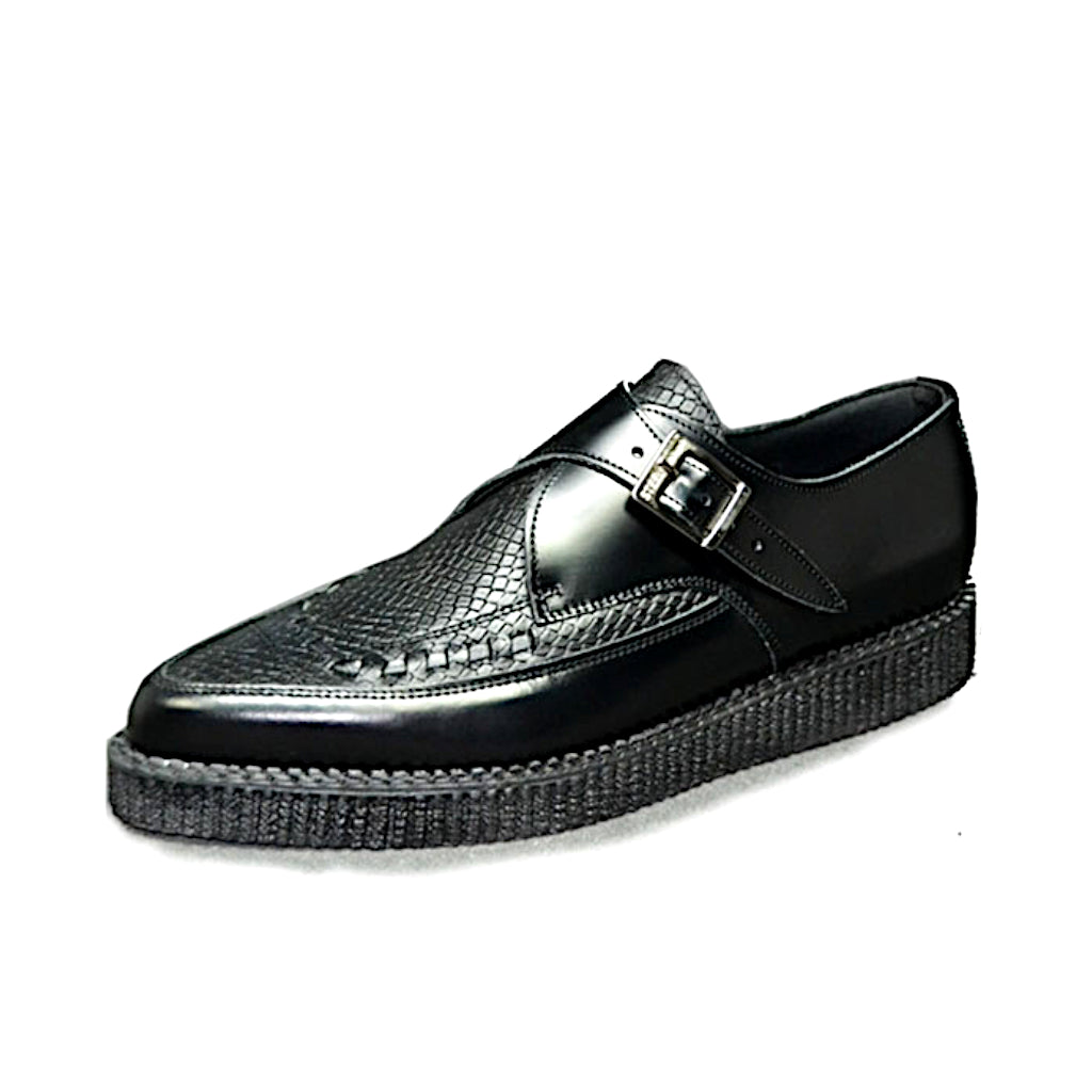 Pointed Creepers Black Leather and Snake