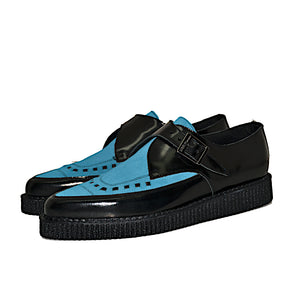 Pointed Creepers Black Leather and Ocean Suede