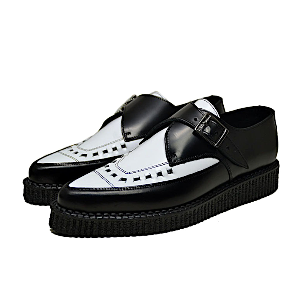Pointed Creepers Black Leather and White