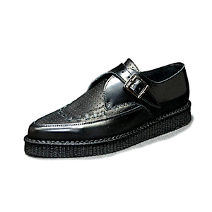Pointed Creepers Black Leather and Black Perforated Grain Leather