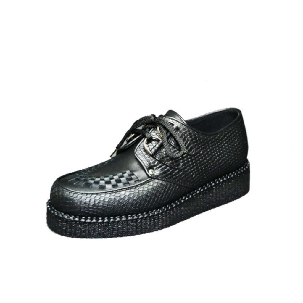 Creepers Black Snake and Black Grain Leather on Apron